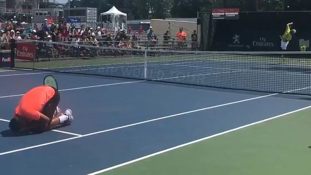 Nick Kyrgios smashed by ball during practice court game in Montreal