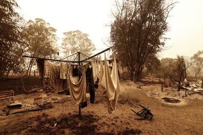 A view of fire damage on January 03, 2020 in Sarsfield , Australia. Fires across East Gippsland have claimed lives and destroyed dozens of properties. (Photo by Darrian Traynor/Getty Images)