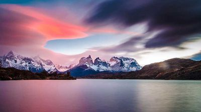 """The Horns of Paine Image: """"This photograph was taken in the National Park Torres del Paine, Magallanes Region, Chile. My inspiration was the same nature at the southern end of the world, with a landscape full of beauty and tranquility that produce a feeling of calm and peace, tried to reflect these feelings in this shot, an emotion produced at the time of sunrise."""" Manuel Fuentes, winner, Chile National Award, 2015 Sony World Photography Awards."""