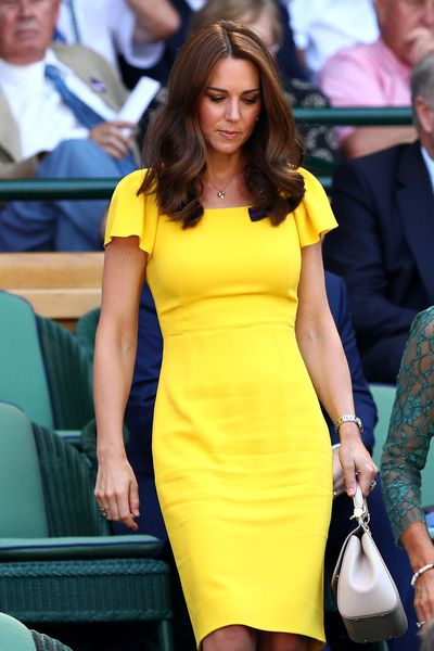 """<p><a href=""""https://style.nine.com.au/2018/07/10/01/40/prince-louis-christening-kate-middleton-outfit"""" target=""""_blank"""" title=""""Kate Middleton"""" draggable=""""false"""">Kate Middleton</a> has returned to Wimbledon for her second day of tennis, hitting all the right <a href=""""https://style.nine.com.au/2018/04/10/12/58/kate-middleton-pregnancy-style"""" target=""""_blank"""" title=""""stylenotes"""" draggable=""""false"""">style notes</a> yet again.</p> <p>Taking in the tennis with her husband, Prince William, Middleton turned heads in a bright yellow Dolce & Gabanna dress, complimented with a pendant necklace and matching earrings by Asprey.</p> <p>It's hard not to notice Middleton's outfit choice is remarkably similar to the <a href=""""https://honey.nine.com.au/2018/07/06/07/08/duke-duchess-sussex-meet-aussie-commonwealth-youth-representatives"""" target=""""_blank"""" title=""""BrandonMaxwell dress"""">Brandon Maxwell dress</a> Meghan Markle <a href=""""https://honey.nine.com.au/2018/07/06/07/08/duke-duchess-sussex-meet-aussie-commonwealth-youth-representatives"""" target=""""_blank"""" title=""""steppedout in"""">stepped out in</a> earlier this month to celebrate the 'Your Commonwealth' Youth Challenge.</p> <p>Although it may appear the mum of three is taking style cues from her sister-in-law, Middleton has long been a fan of yellow. In fact, the Duchess of donned a striking Roksanda Ilincic sheath dress to Wimbledon in 2016.</p> <p>Click through to check out Middleton's most stand-out Wimbledon looks over the years.</p>"""