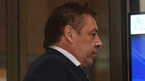 "Mark ""Bomber"" Thompson arrives at the Melbourne Magistrates Court today."