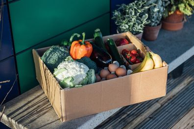 A delivery box filled with fresh organic vegetables and fruits on the front yard