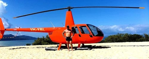 Mr Fornaciari posted this photo of himself on a beach with a helicopter. (Facebook)