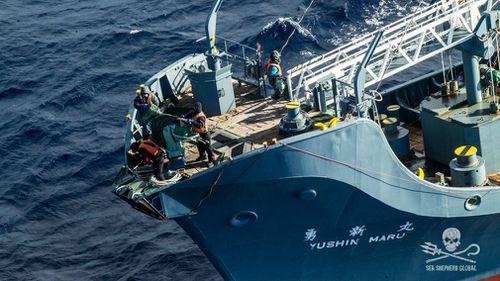 The Nisshin Maru whaler factory ship. (Image: AAP/Sea Shepherd).