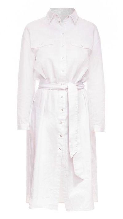 "<p><a href=""http://fashionbunker.com/light-the-way-shirt-dress?color=white"" target=""_blank"">Dress, $99.95, The Fifth at fashionbunker.com</a></p>"