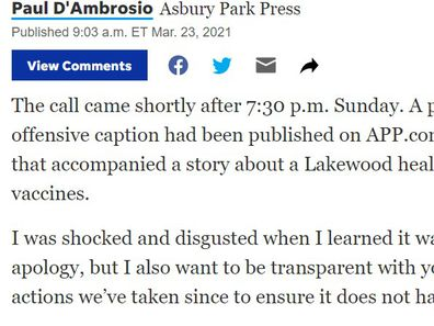 Asbury Park Press executive editor Paul D'Ambrosio's apology for the photo caption.