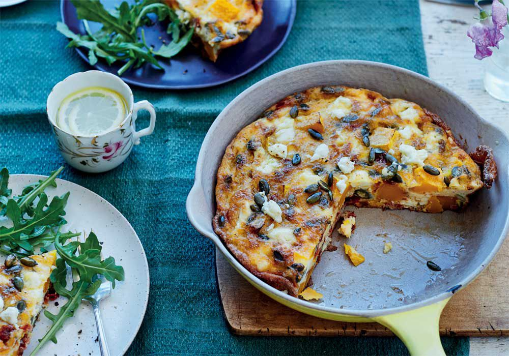 'Sweet dreams' butternut squash, sundried tomato and feta frittata by Rachel Kelly