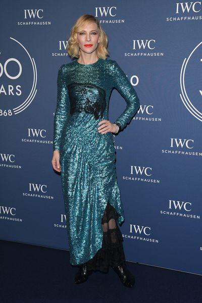 Cate Blanchett in Gucci at an IWC Schaffhausen event in Switzerland, January, 2018