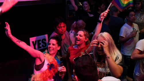 Same-sex marriage supporters partied after the Yes vote won.