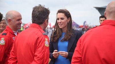 The Duchess of Cambridge, who is the Honorary Air Commandment for the Air Cadets, spoke to RAF service people.