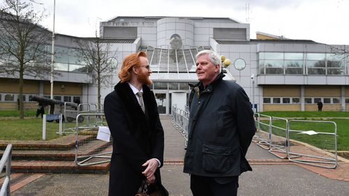Editor in Chief of Wikileaks Kristin Hrafnsson (R) with Wikileaks Section Editor Joseph Farrell (L) outside Woolwich Crown Court in London, Britain, 26 February 2020. Julian Assange is facing extradition to the US on 18 charges and faces up to 175 years in prison if found guilty