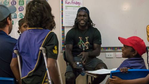 McDonald-Tipungwuti sat in on lessons in the hopes of inspiring children to overcome adversity in their own lives. (Supplied)