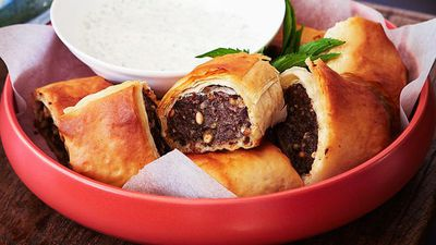 "<a href=""http://kitchen.nine.com.au/2016/05/16/15/47/greekstyle-lamb-sausage-rolls"" target=""_top"">Greek-style lamb sausage rolls<br /> </a>"