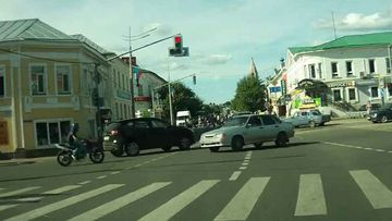 "<p _tmplitem=""1"">A lucky motorcyclist has survived a potentially catastrophic accident at a busy intersection by flipping to safety on the car's roof before casually hopping off. </p><p _tmplitem=""1""> Dashcam footage taken on June 18 in the Russian town of Pereslavl-Zalessky shows the rider being thrown from his motorcycle and flipped on to the roof on an oncoming vehicle that had turned into his path, causing the collision. </p><p _tmplitem=""1""> The unidentified motorcyclist, who appears unhurt, is left sitting on top of the offending car, before gathering his senses and climbing down to remonstrate with the driver of the silver sedan. </p><p _tmplitem=""1""> Click through the gallery to watch more head-scratching escapes from accidents that should have ended differently. </p>"