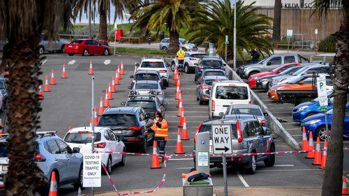 St Kilda COVID testing hub in Melbourne.