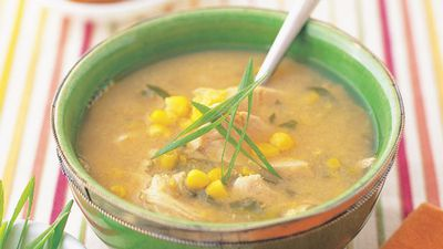 """Recipe:<a href=""""http://kitchen.nine.com.au/2016/05/13/12/30/chicken-and-corn-soup"""" target=""""_top"""" draggable=""""false"""">Chicken and corn soup<br> </a>"""
