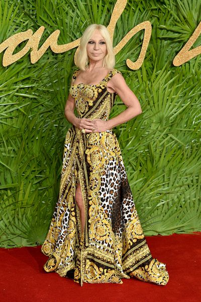 Donatella Versace in Versace at the Fashion Awards, London.