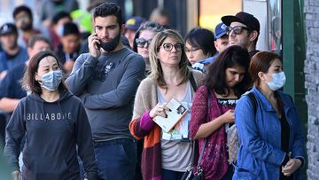 The queue seen outside a Melbourne Centrelink office in March.