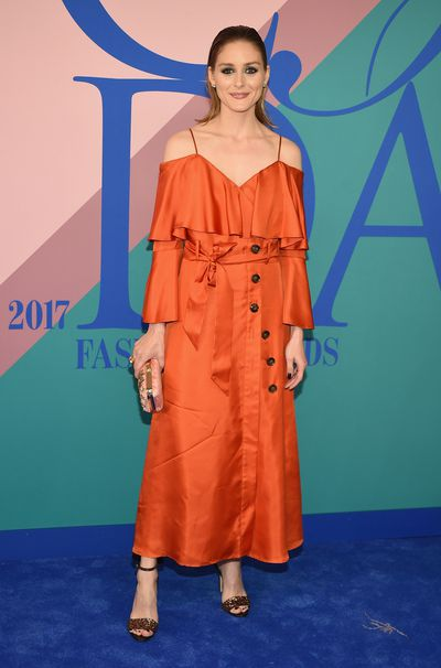 Olivia Palermo - top-to-toe style in an off-the-shoulder dress.