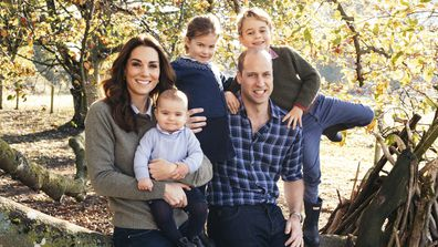 This photo released by Kensington Palace on Friday Dec. 14, 2018, shows the photo taken by Matt Porteous of Prince William and Kate, Duchess of Cambridge with their children Prince George, right, Princess Charlotte, center, and Prince Louis at Anmer Hall in Norfolk, east England, which is to be used as their 2018 Christmas card. (Matt Porteous/Kensington Palace via AP)