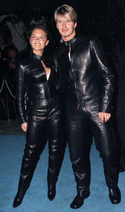 <p>Black on Black</p> <p>In 1999 Posh and Becks took their couple dressing efforts to the next level with matching latex jumpsuits at the Versace Club in London.&nbsp;</p>