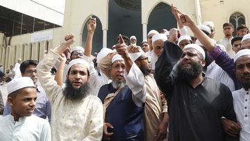 Bangladeshi men demonstrate after the Christchurch mosque massacre on Friday.