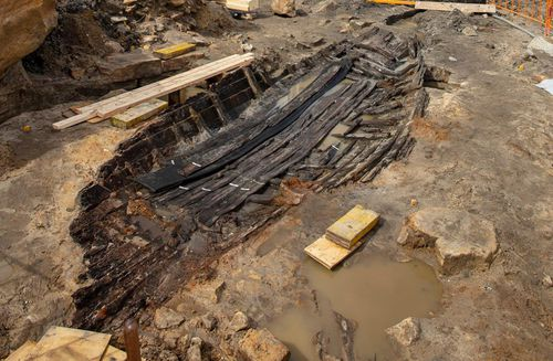 Historic 180-year-old boat uncovered in excavations for Sydney Metro station at Barangaroo