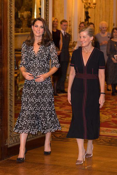 Duchess of Cambridge Kate Middleton wearing bespoke Erdem at The Commonwealth Fashion Exchange Reception at Buckingham Palace on February 19, 2018