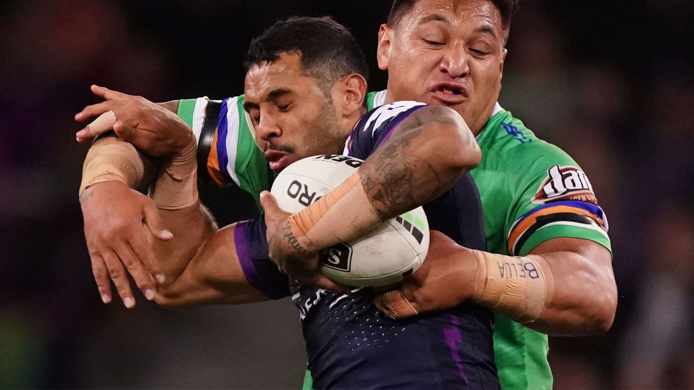 Addo-Carr tackled by Papalii