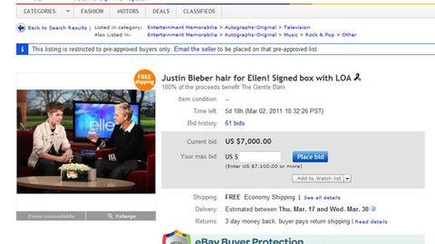 Justin Bieber's hair on ebay