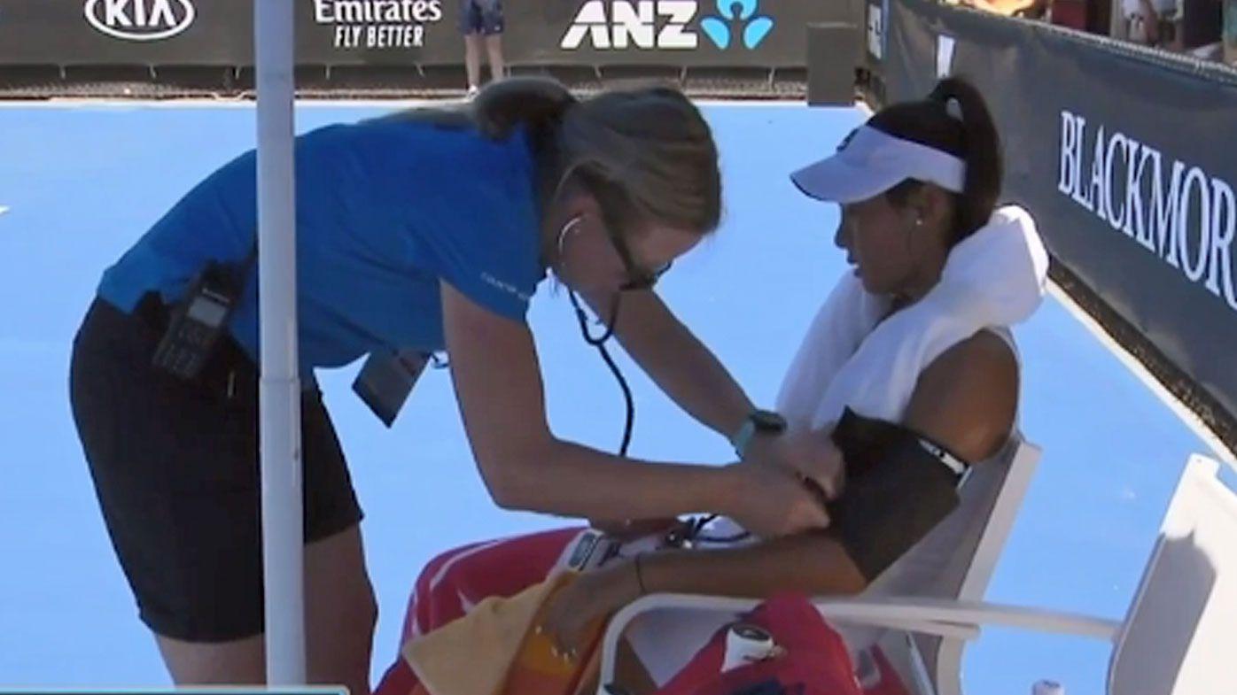 Priscilla Hon receives medical attention
