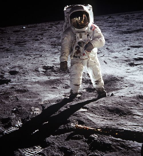 US Astronaut Buzz Aldrin, walking on the Moon July 20 1969. Taken during the first Lunar landing of the Apollo 11 space mission by NASA. World History Archive  Ann Ronan Picture Library