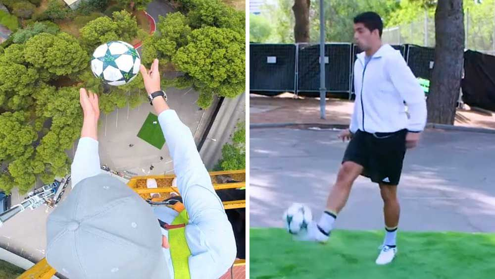 Football: Star stuns with with magic touch from 35-m high crane