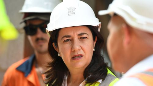 Queensland Premier Annastacia Palaszczuk visited a construction site in Cairns on Monday morning (Image: AAP)