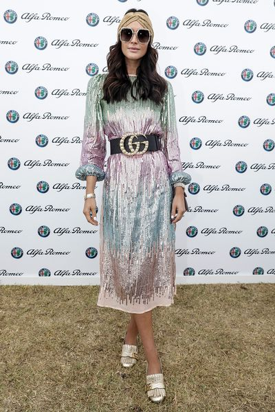 Model Clementine McVeigh in Gucci at the 2018 Portsea Polo