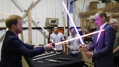 The royal brothers indulge in a lightsabre battle, 2016