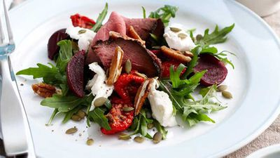 "Click through for our <a href=""http://kitchen.nine.com.au/2016/05/05/16/28/beetroot-beef-and-mozzarella-salad"" target=""_top"">beetroot, beef and mozzarella salad</a> recipe"