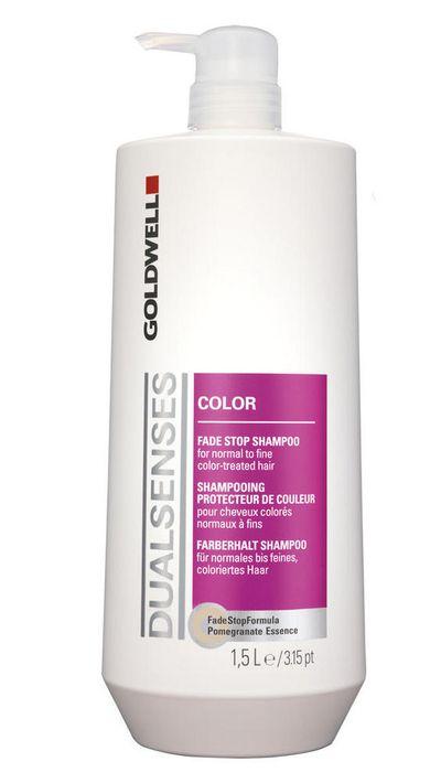 """<a href=""""http://au.strawberrynet.com/haircare/goldwell/dual-senses-color-fade-stop-shampoo/158054/?CatgId=p#DETAIL"""" target=""""_blank"""">Dual Senses Color Fade Stop Shampoo, $50.50, Goldwell</a>"""
