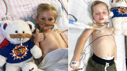 Jacob James is being treated in Westmead Children's Hospital's ICU.
