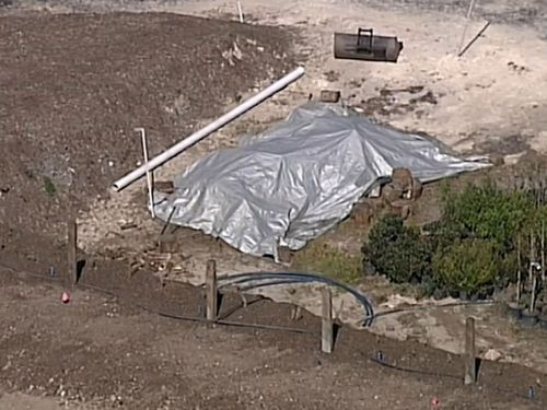 Investigators searched a property on Cherry Lane at Kulnura today over illegal asbestos dumping.