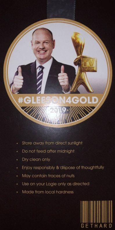 Tom Gleeson's Gold Logie condom packet