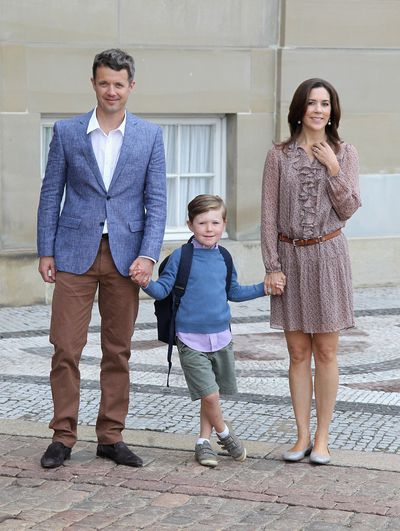 Prep school: Crown Prince Frederik of Denmark and Crown Princess Mary of Denmark  with their son Prince Christian of Denmark on his first day of school  in 2011 in Copenhagen.