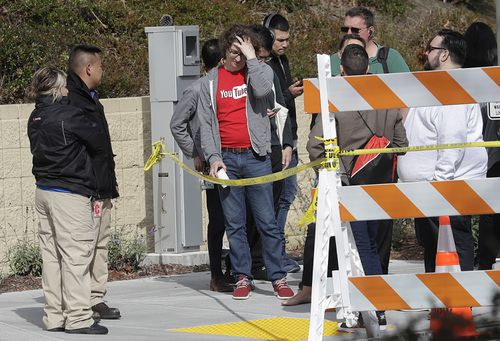 People were seen and heard running from the YouTube building during the shooting. Picture: AAP.