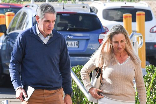 The parents of Olivia Inglis, Charlotte and Arthur Inglis arrive at the Lidcombe Coroner's Court. An Inquest ha begun into the deaths of  Caitlyn Fisher and Olivia Inglis, two young equestrians who died in separate falls at competition.