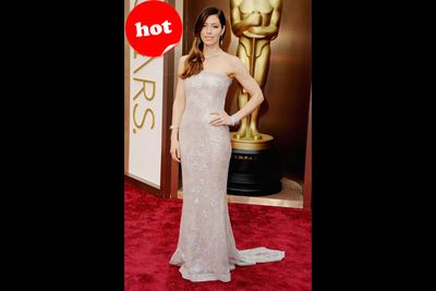 Jessica's terribly messy ombre almost got her placed on our NOT hot list. But she was saved by this luscious, embroidered gown. Wow!