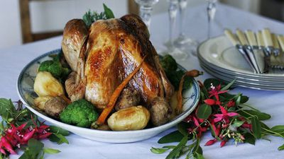 "Recipe:&nbsp;<a href=""http://kitchen.nine.com.au/2016/05/05/15/41/roast-turkey-with-pistachio-and-lingonberry-stuffing"" target=""_top"" draggable=""false"">Roast turkey with pistachio and lingonberry stuffing</a>"