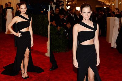 Emma Watson shows off some skin at the MET Gala in NYC.