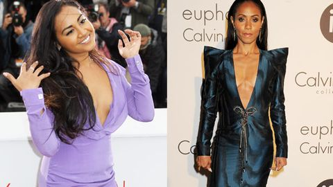 How low can you go? Jessica Mauboy and Jada Pinkett-Smith's epic plunging necklines at Cannes