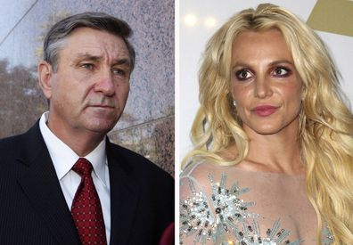 This combination photo shows Jamie Spears, left, father of Britney Spears, as he leaves the Stanley Mosk Courthouse on Oct. 24, 2012, in Los Angeles and Britney Spears at the Clive Davis and The Recording Academy Pre-Grammy Gala on Feb. 11, 2017, in Beverly Hills, Calif.