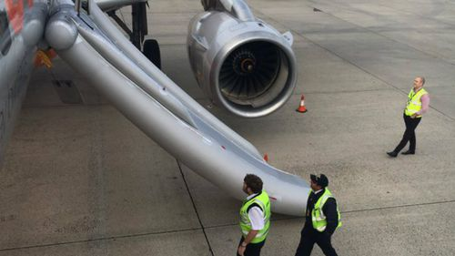 Emergency slide accidentally deployed from Jetstar plane after landing at Melbourne airport